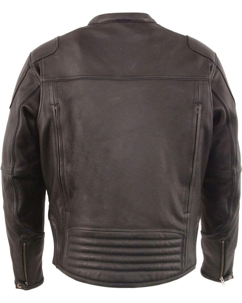Milwaukee Leather Men's Black Cool Tec Leather Scooter Jacket - Big 4X, Black, hi-res