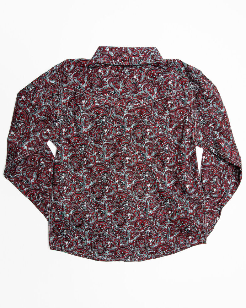 Cody James Toddler Boys' Noble Paisley Print Long Sleeve Western Shirt , Maroon, hi-res