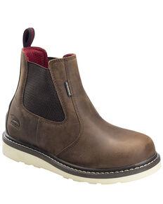 Avenger Men's Waterproof Wedge Chelsea Work Boots - Carbon Toe, Brown, hi-res