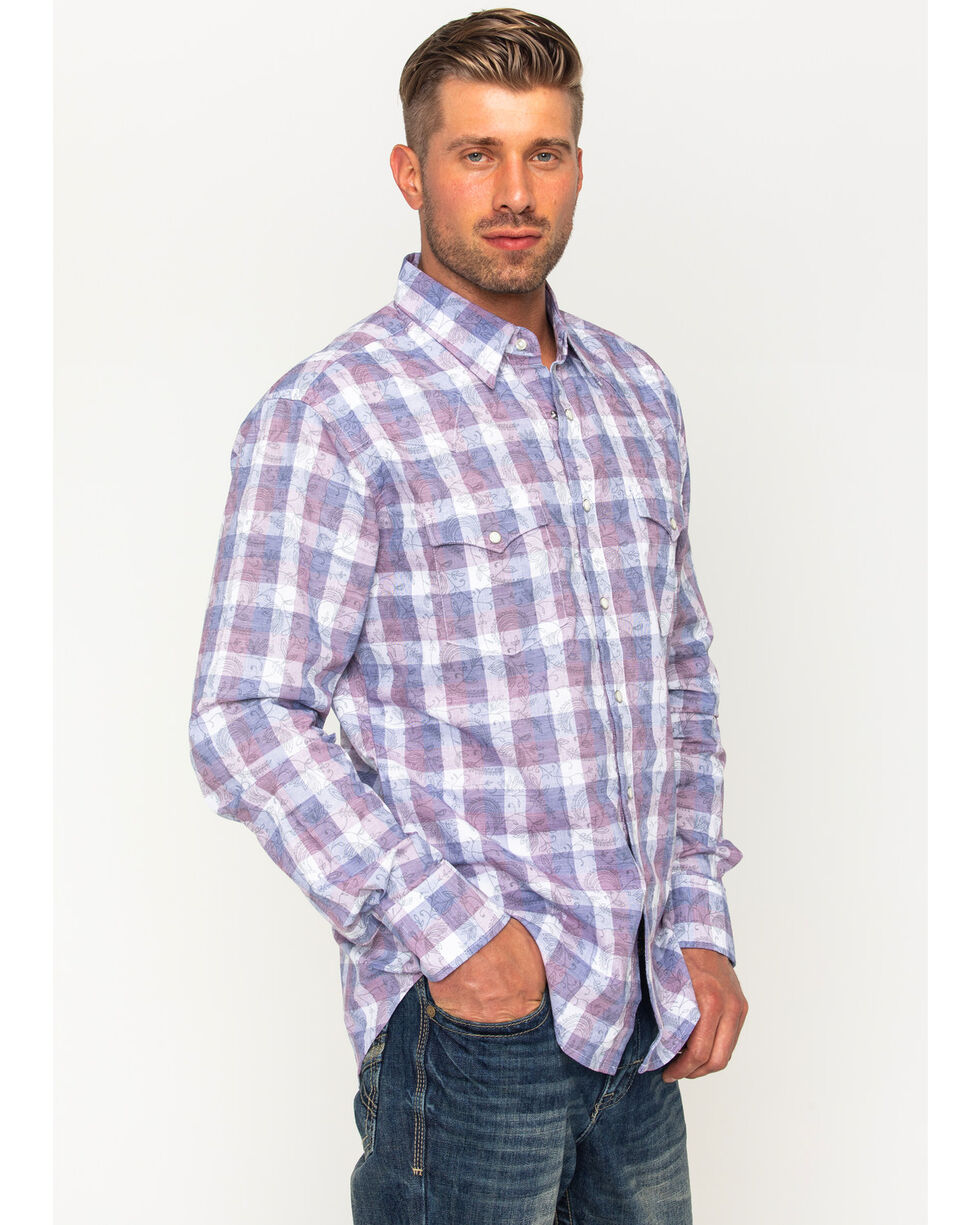 Wrangler Men's Retro Premium Plaid Western Shirt , Navy, hi-res