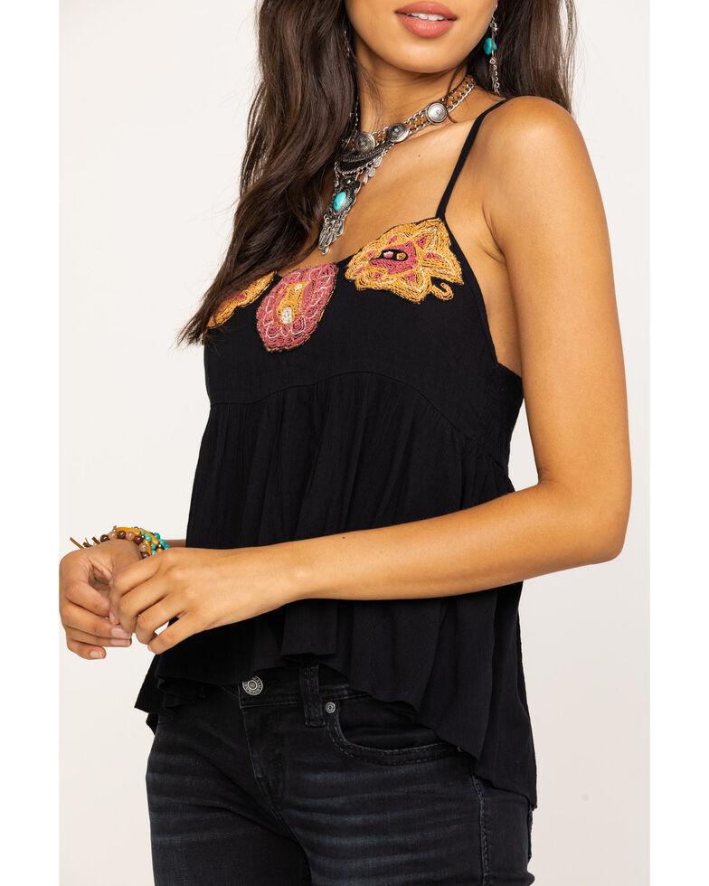 Shyanne Women's Black Floral Embroidered Tank Top, Black, hi-res
