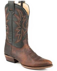 Roper Men's Tate Western Boots - Medium Toe, Brown, hi-res