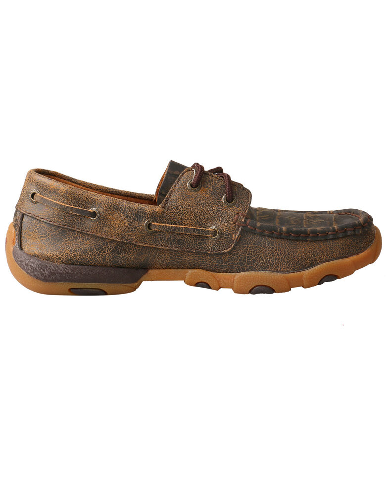 Twisted X Women's Caiman Print Driving Moccasins - Moc Toe, Brown, hi-res