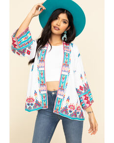 Johnny Was Women's Laurelle Cropped Kimono, White, hi-res
