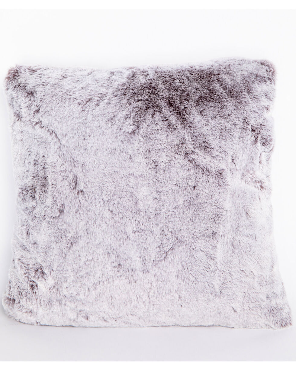 BB Ranch Grey Faux Fur Pillow, Grey, hi-res