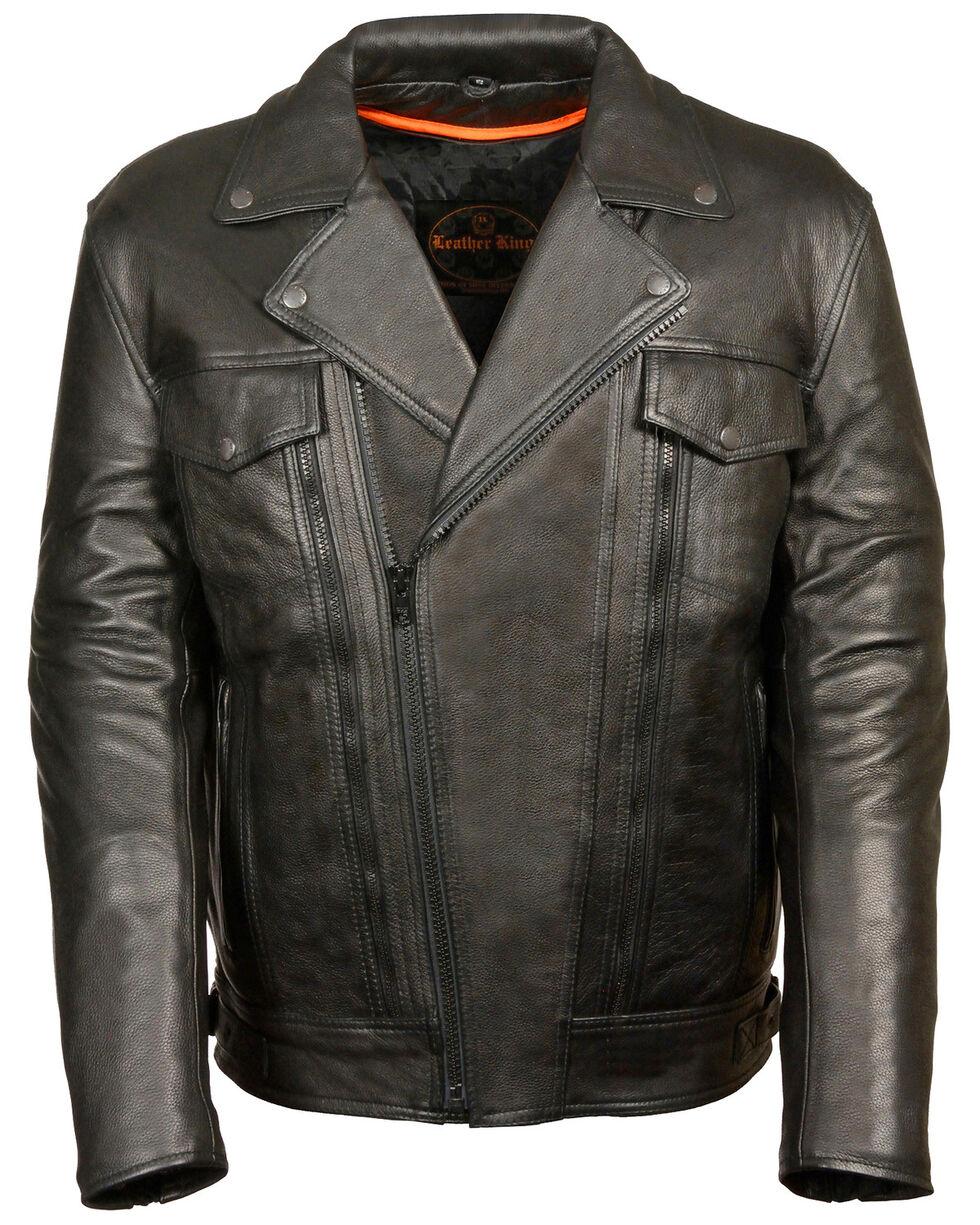 Milwaukee Leather Men's Utility Pocket Motorcycle Jacket, Black, hi-res