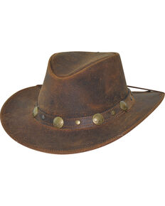 4ce4dbd8c33 Bullhide Men s Brown Crackled Leather Hat.  44.99. Bullhide Mens Duluth Leather  Outback Hat