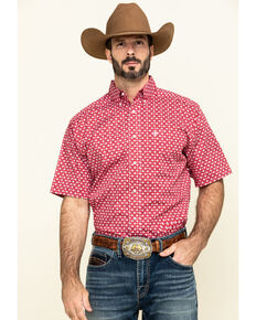 Ariat Men's Nedmond Stretch Geo Print Short Sleeve Western Shirt - Tall , Red, hi-res
