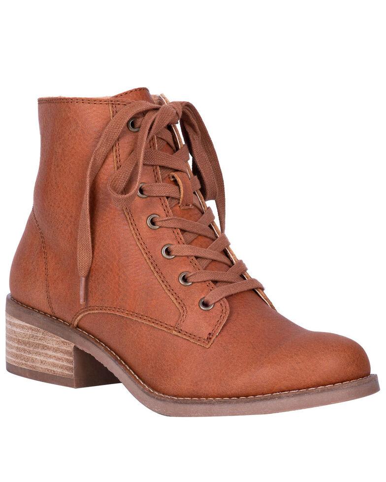 Dingo Women's Prairie Girl Lace-Up Boots - Round Toe, Cognac, hi-res