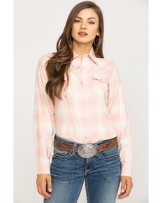 Wrangler Women's Blush Plaid Flannel Shirt, Blush, hi-res