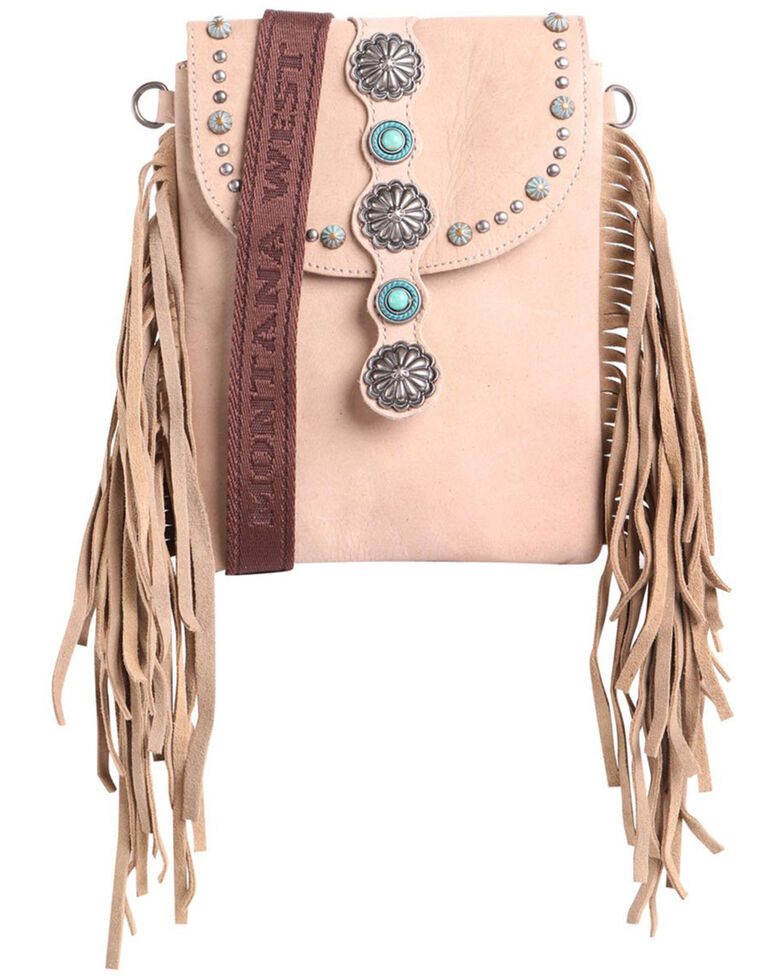 Montana Silversmiths Women's Pearl Concho Fringe Crossbody Bag, Tan, hi-res