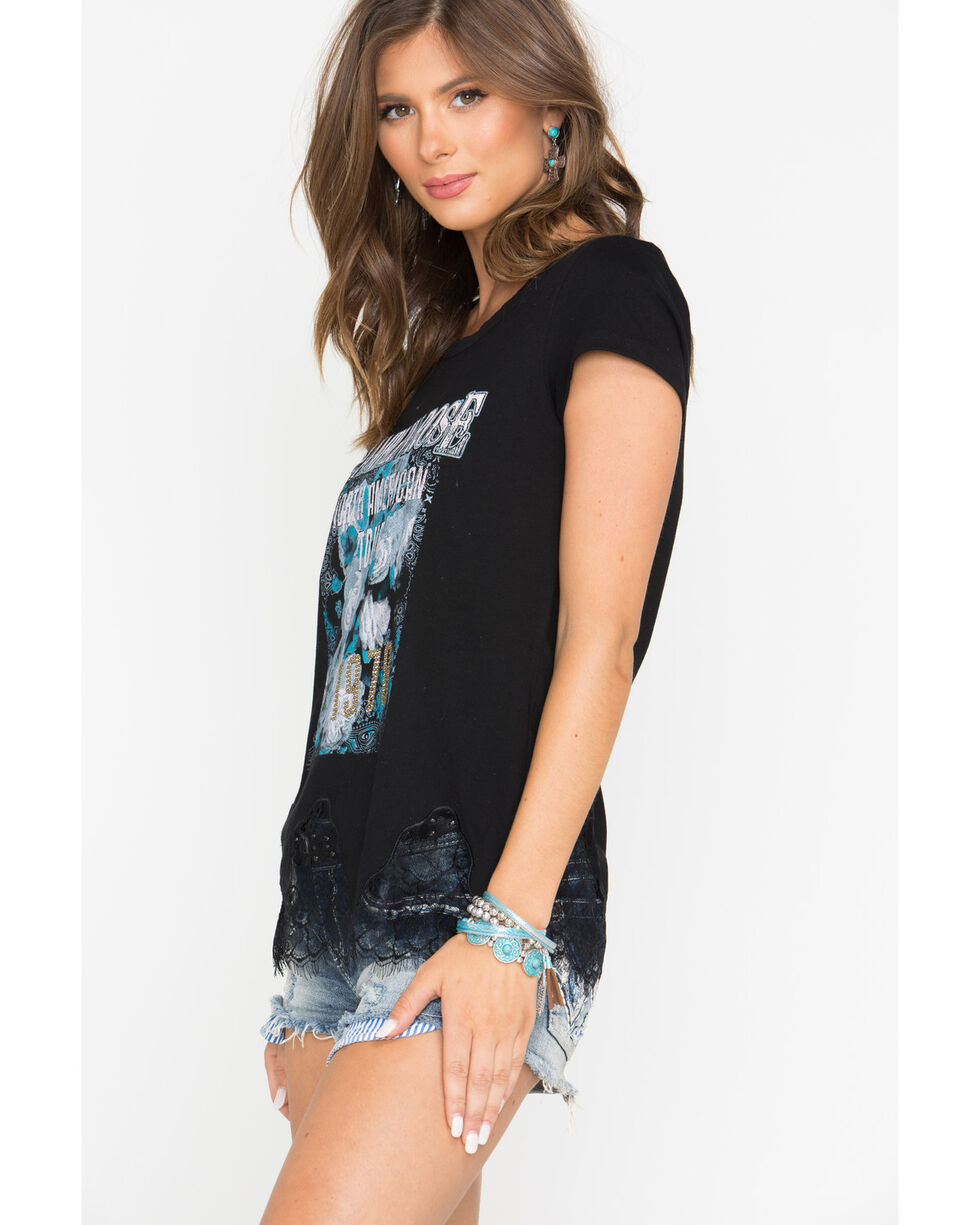 Shyanne Women's Freedom Ride Scallop Lace Tee, Black, hi-res