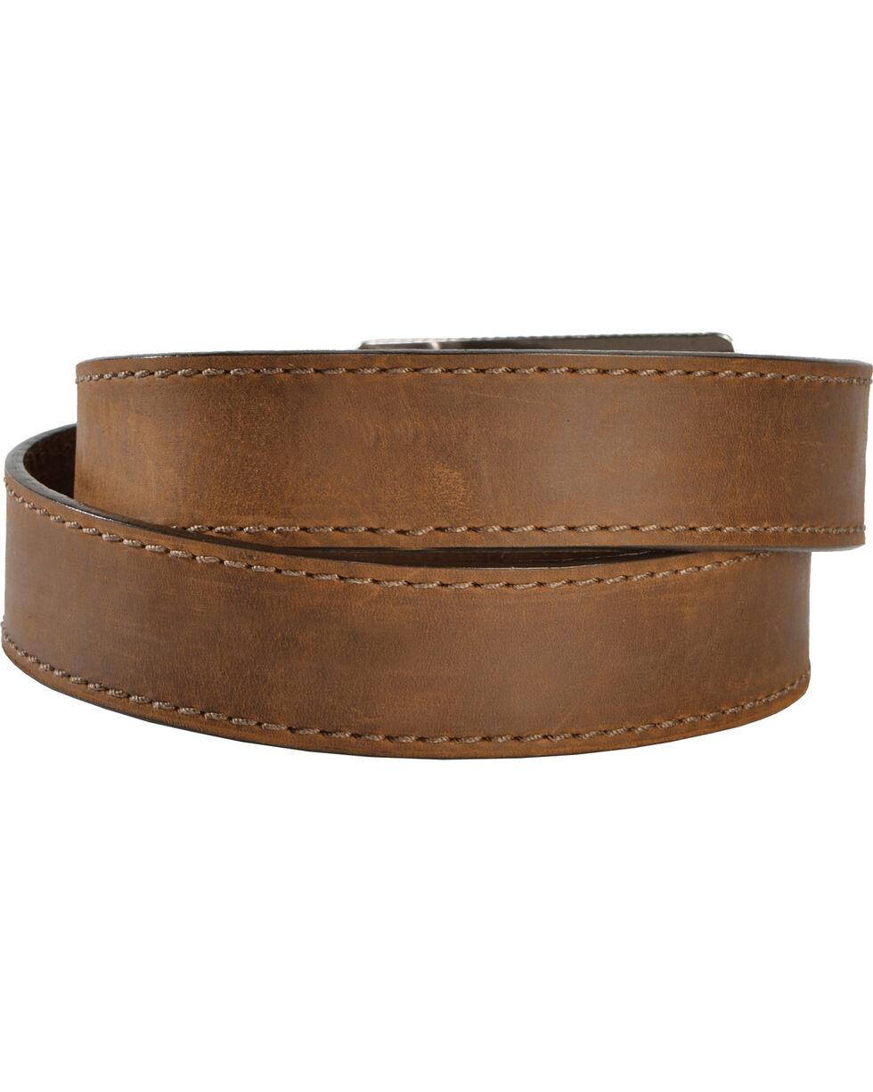 Justin Men's Flying High Leather Belt with Flag Buckle, Brown, hi-res