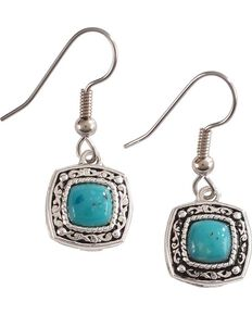 Montana Silversmiths Women's Blue Earth Hook Earrings, Silver, hi-res