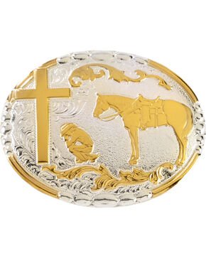 Crumrine Cowboy Prayer Buckle, Silver, hi-res
