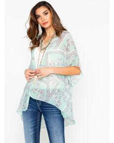 Panhandle Women's Blue Floral Print Lace Back Inset Kimono , Light Blue, hi-res