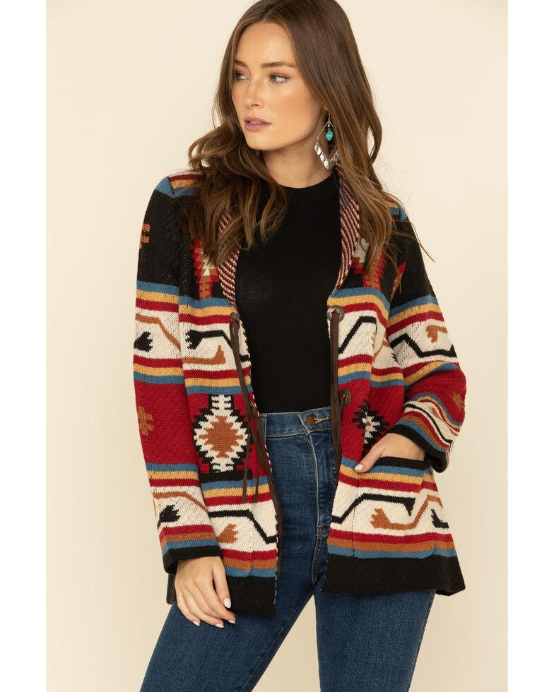 Joseph Studio Women's Aztec Open Front Concho Cardi Sweater , Rust Copper, hi-res
