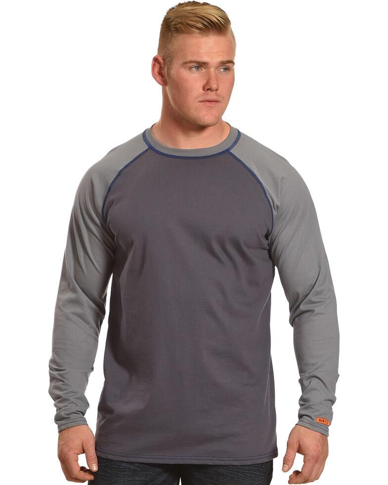 Wrangler Men's Grey FR Flame Resistant Knit Baseball Long Sleeve Work T-Shirt , Grey, hi-res