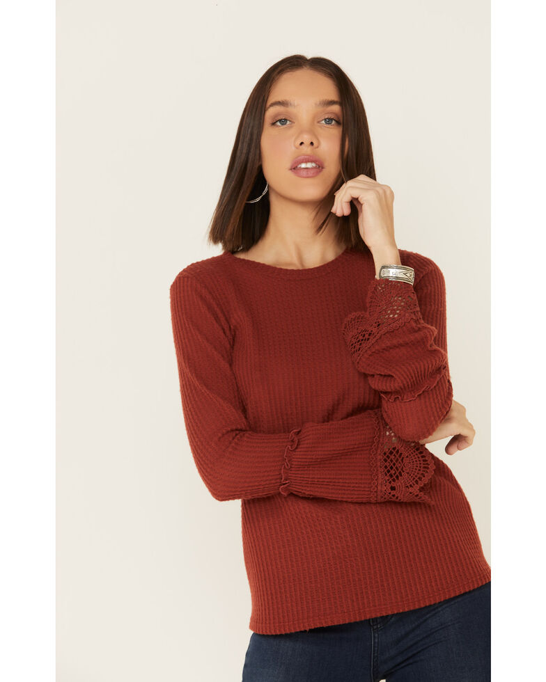 Moa Moa Women's Rust Brushed Thermal Bell Sleeve Top , Rust Copper, hi-res