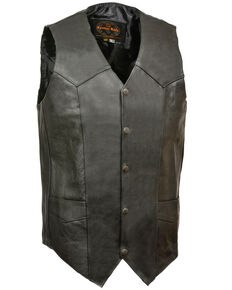 Milwaukee Leather Men's Classic Snap Front Biker Vest - XBig & Tall, Black, hi-res