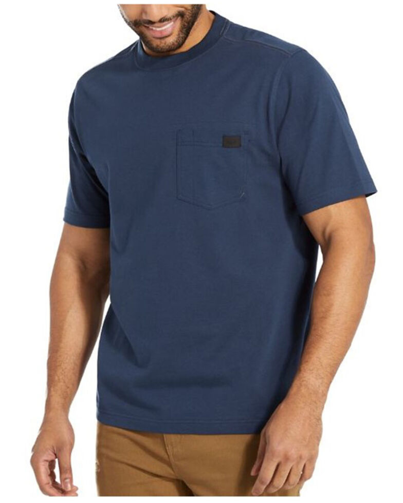 Wolverine Men's Solid Navy Guardian Short Sleeve Work Pocket T-Shirt , Navy, hi-res