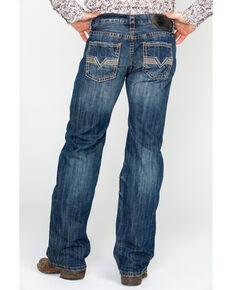 Rock & Roll Cowboy Men's Denim Large V Bean Stitch Straight Jeans , Dark Blue, hi-res