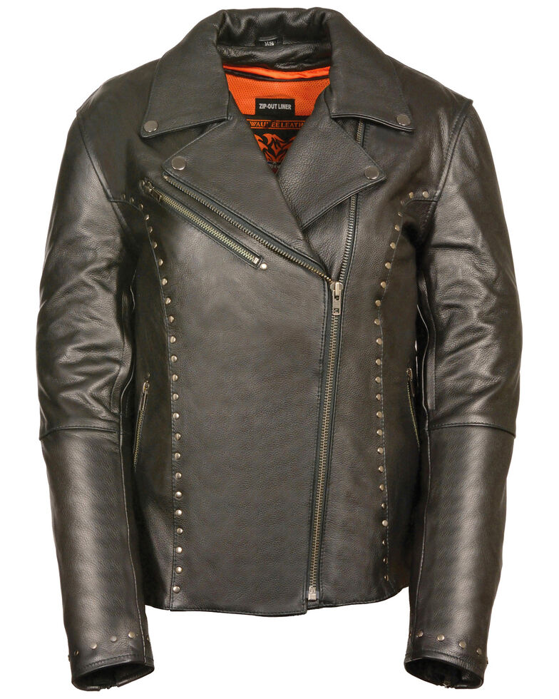 Milwaukee Leather Women's Classic Studded Motorcycle Leather Jacket - 5X, Black, hi-res