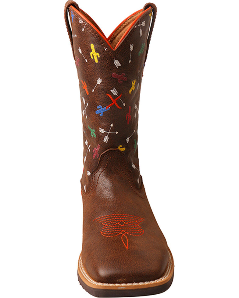 Twisted X Boys' Top Hand Arrow Cactus Cowboy Boots - Square Toe, Brown, hi-res