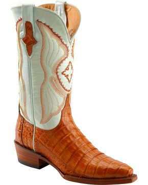 Ferrini Women's Caiman Crocodile Belly Snip Toe Western Boots, Cognac, hi-res