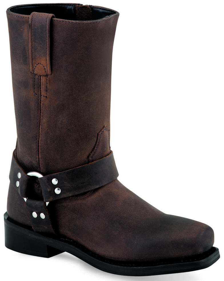 Old West Girls' Harness Western Boots - Square Toe, Brown, hi-res
