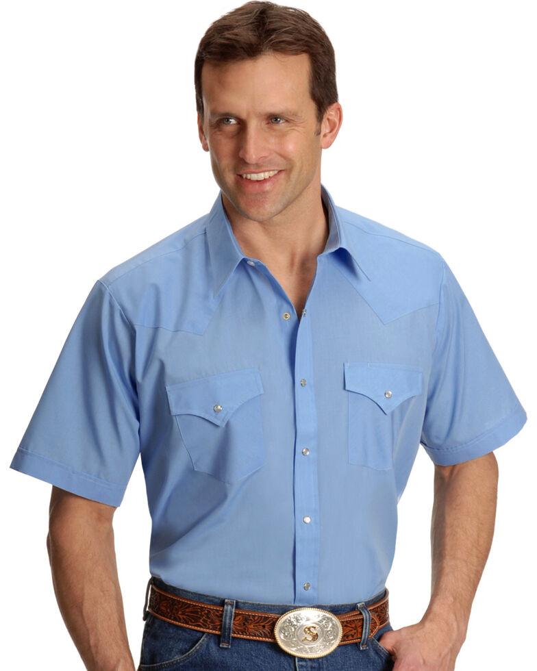 Ely Cattleman Men's Short Sleeve Solid Western Shirt, Light Blue, hi-res