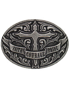 Cody James® Faith Courage Pride Belt Buckle, Silver, hi-res
