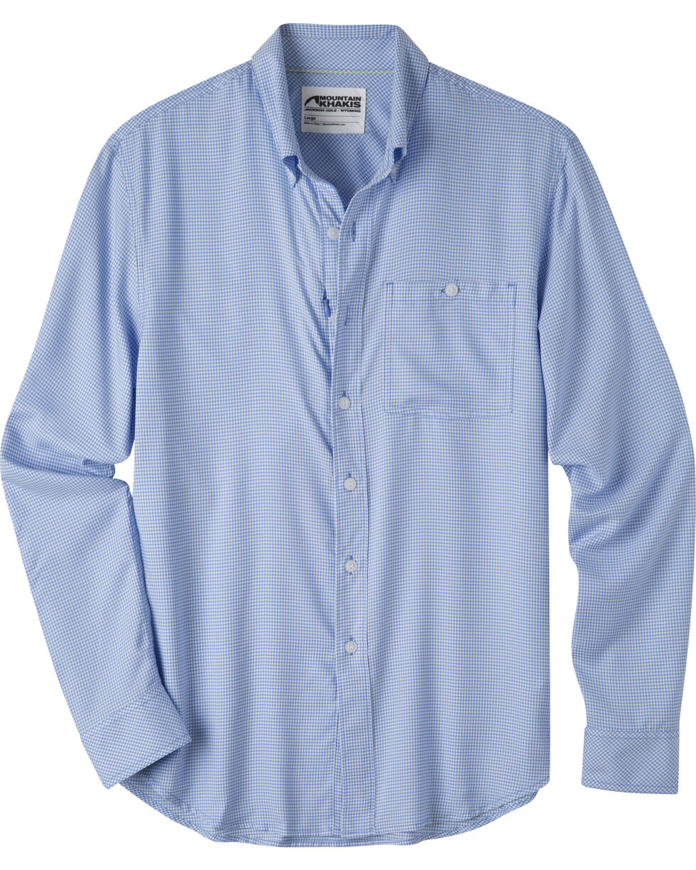 Mountain Khakis Men's Passport EC Long Sleeve Shirt , Blue, hi-res