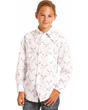 Rock & Roll Cowboy Boys' Steer Skull Long Sleeve Snap Shirt, White, hi-res