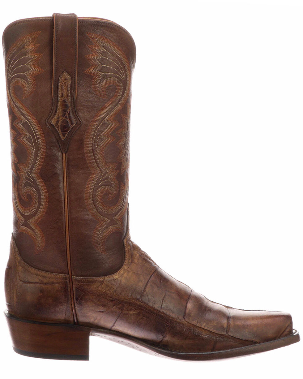Lucchese Men's Rio Brown/Tan Giant Gator Western Boots - Snip Toe, Brown, hi-res