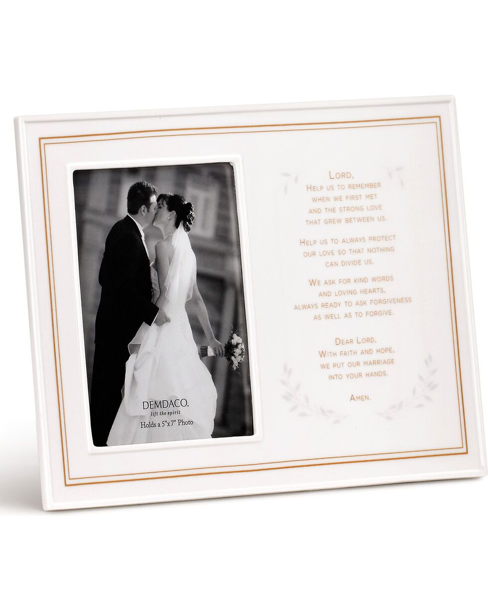 Demdaco Wedding Prayer Ceramic Frame , White, hi-res