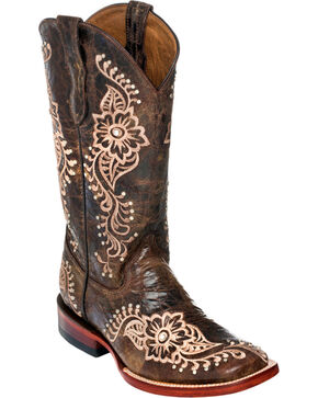 Ferrini Chocolate Wild Flower Cowgirl Boots - Square Toe, Chocolate, hi-res