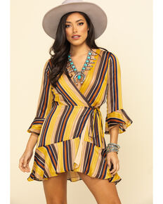 Miss Me Women's Mustard Stripe Surplice Wrap Dress, Dark Yellow, hi-res