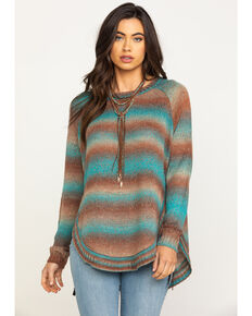 Joseph Studio Women's Teal Stripe Long Sleeve Top, Teal, hi-res