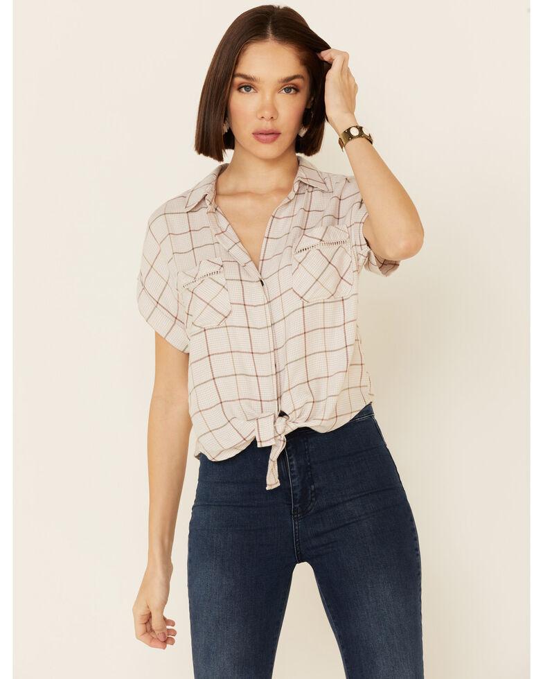 Shyanne Women's Tan Windowpane Plaid Tie-Front Short Sleeve Western Shirt , Tan, hi-res