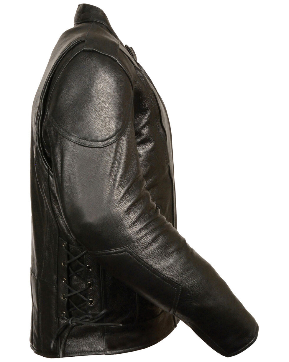 Milwaukee Leather Men's Side Lace Vented Scooter Jacket - 5X Tall, Black, hi-res