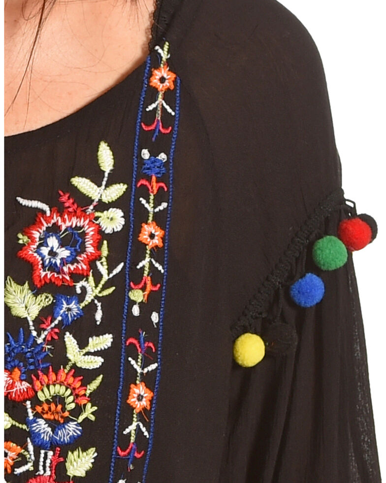 New Direction Sport Women's Pop Pop Trim Embroidered Top , Black, hi-res