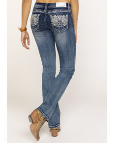 Grace in LA Women's Light Mid Easy Aztec Embroidered Bootcut Jeans, Blue, hi-res
