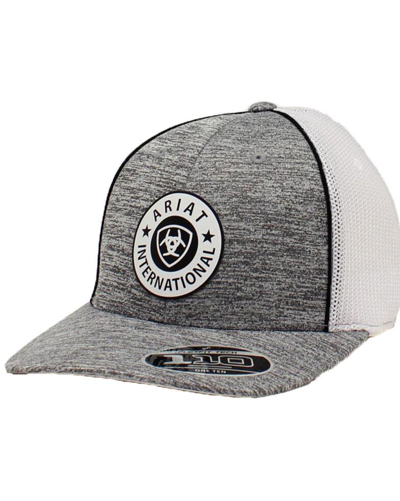 Ariat Men's Heather Grey Round Logo Patch Mesh Ball Cap, Heather Grey, hi-res