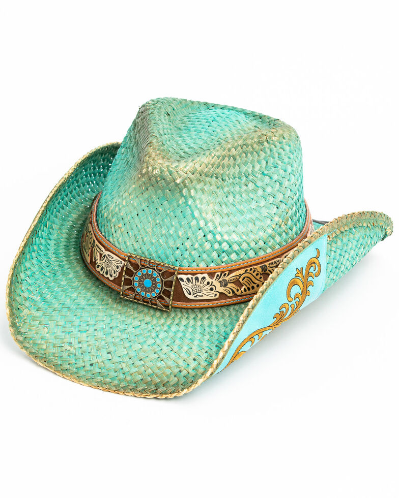 Shyanne Women's Cactus Flower Western Straw Hat , Blue, hi-res