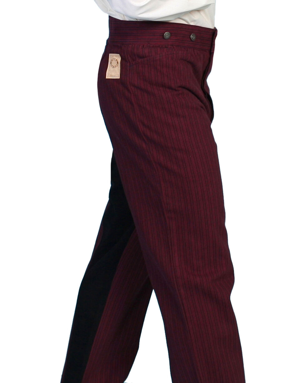 Wahmaker by Scully Cotton Saddle Cut Stripe Pants, Burgundy, hi-res
