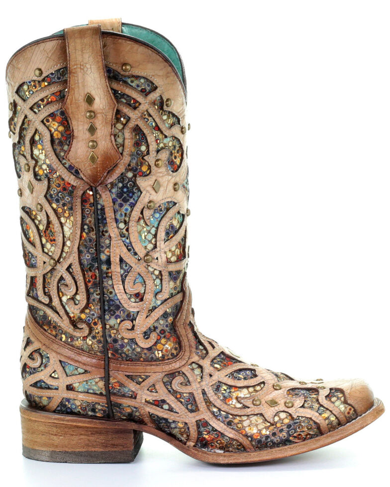 Corral Women's Bone Inlay Western Boots - Square Toe, Ivory, hi-res