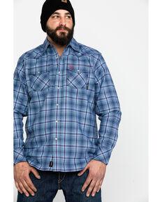 Ariat Men's FR Diesel Retro Plaid Long Sleeve Work Shirt , Blue, hi-res