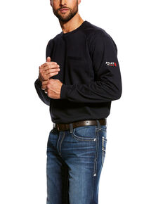 Ariat Men's Black FR Air Crew Long Sleeve Work Shirt , Black, hi-res