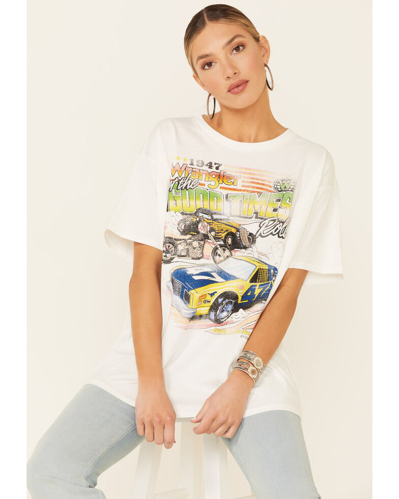 Wrangler Modern Women's Ivory Good Times Roll Retro Graphic Short Sleeve Tee , Ivory, hi-res